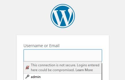 pagina de login pentru un site wordpress considerata nesigura de catre google chrome